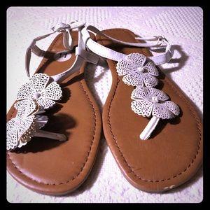 White Rampage Flower Sandals size 11